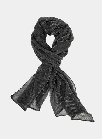 Textured Glitter Scarf, Grey, hi-res