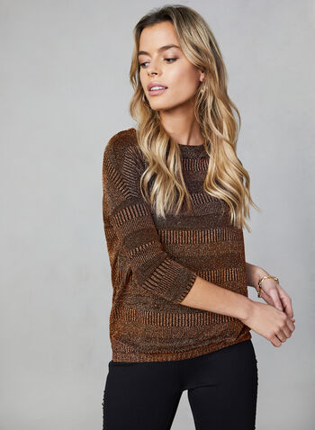 Sequined Knit Dolman Sleeve Top, Gold, hi-res,  top, dolman sleeves, knit, sequined, boat neck, fall 2019, winter 2019