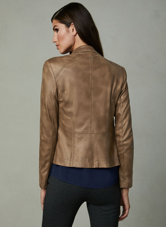 Vex - Cropped Faux Leather Jacket, Brown, hi-res