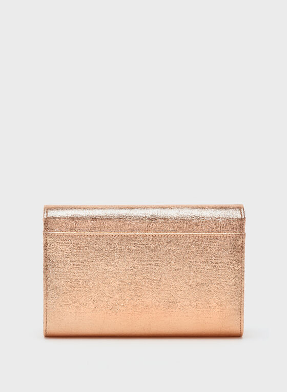 Metallic Flapover Clutch, Gold, hi-res