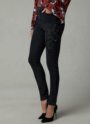 Jean à jambe étroite avec applique florale, Noir, hi-res