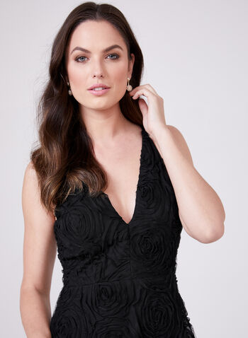 BA Nites - Floral Soutache Mesh Gown, Black, hi-res