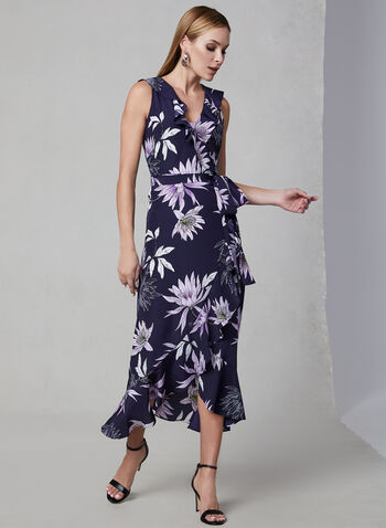 Vince Camuto - Floral Print Dress, Blue, hi-res,  Vince Camuto, floral print, wrap, sleeveless, spring 2019