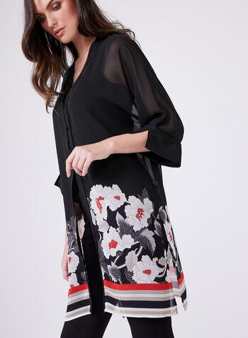 Chemisier en mousseline à manches kimono ¾, Rouge, hi-res