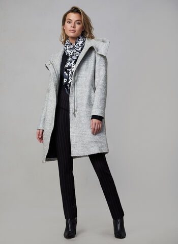 Marcona – Hooded Wool Coat, Grey, hi-res,  Tweed coat