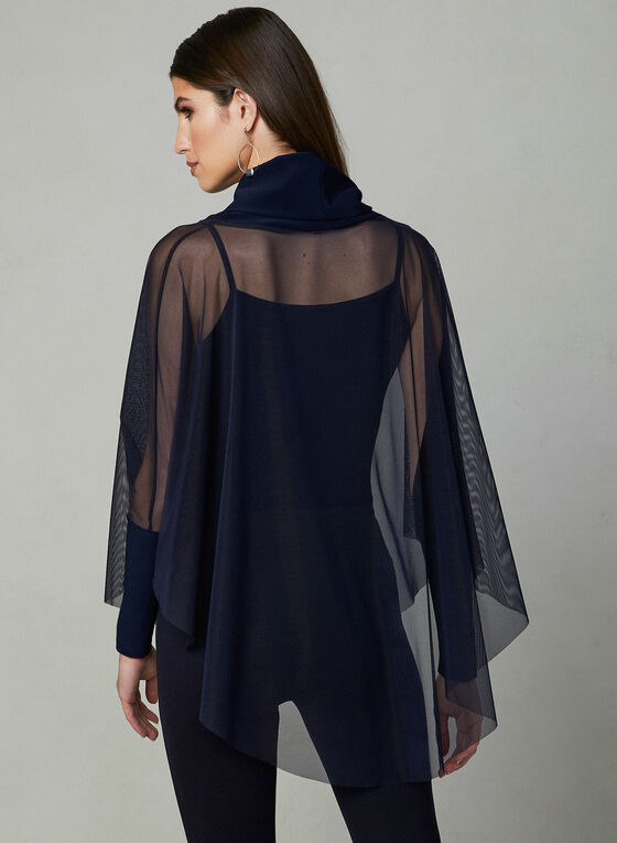 Joseph Ribkoff - Mesh Cowl Neck Top, Blue, hi-res