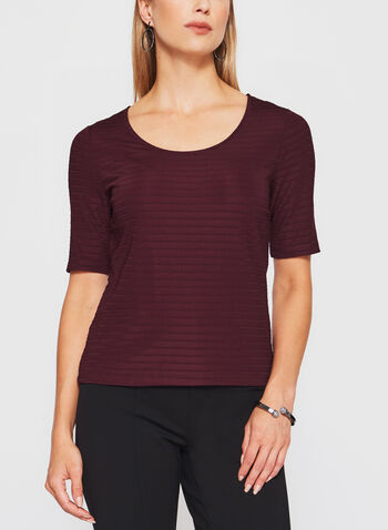 Short Sleeve Ottoman Stitch Top, Red, hi-res