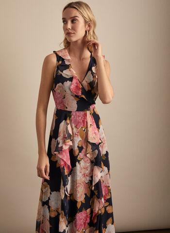 Karl Lagerfeld Paris - Floral Print Ruffle Detail Dress, Blue,  dress, evening, chiffon, floral, tie, ruffled, sleeveless, spring summer 2020