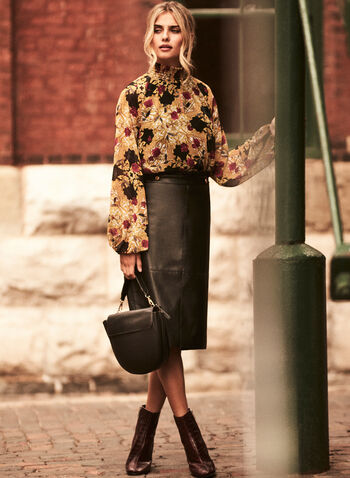 Baroque Print Mock Neck Blouse, Black,  blouse, balloon sleeves, baroque, mock neck, smocked, chiffon, fall winter 2020