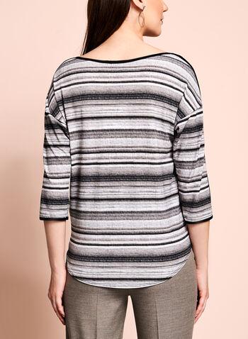 3/4 Sleeve Stripe Print Top, White, hi-res