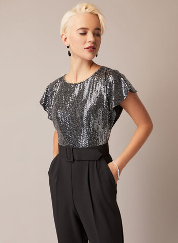 Joseph Ribkoff - Sequin Belted Jumpsuit, Black,  fall winter 2020, made in canada, sequins, round neck, wide belt, straight leg, holiday