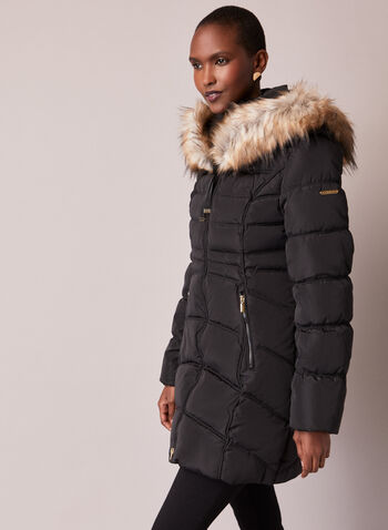 Laundry - Faux Fur Quilted Coat, Black,  fall winter 2020, coat, down, vegan, quilted, hood, faux fur, laundry, pockets, holiday
