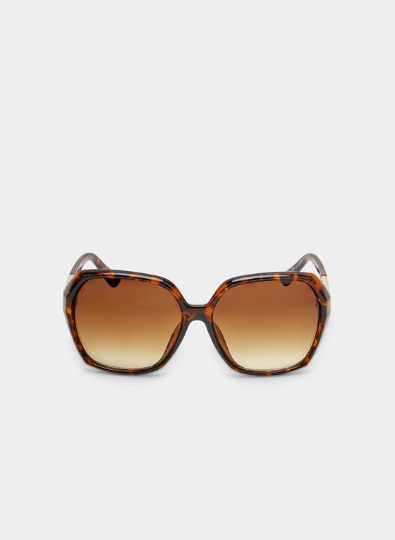 Gradient Tort Sunglasses, Brown, hi-res
