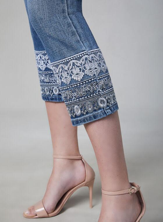 Embroidered Capri Jeans, Blue