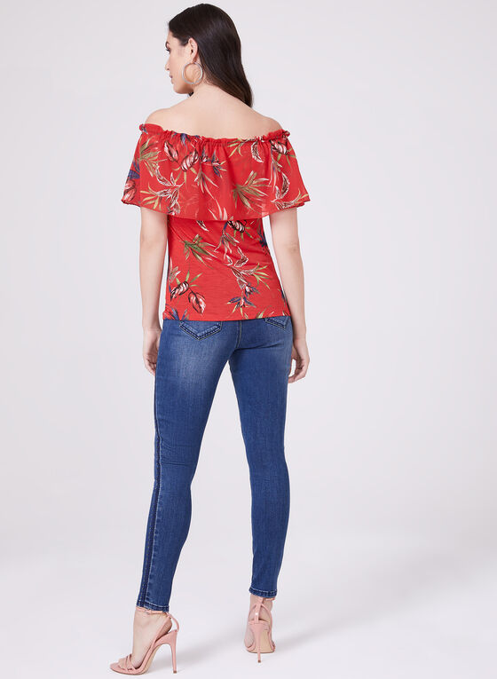 Floral Print Off The Shoulder Top, Red, hi-res