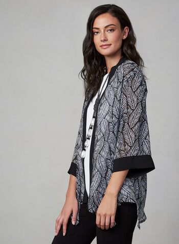 Open Front Chiffon Top, Black,  canada, 3/4 sleeves, kimono, open, blouse, top, chiffon, fall 2019, winter 2019