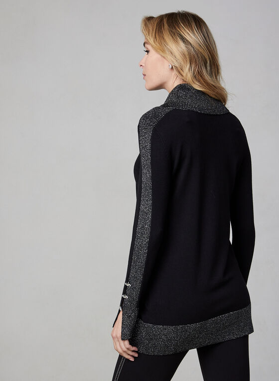 Metallic Trim Sweater, Black, hi-res