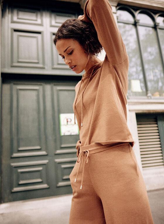 Hooded Knit Sweater, Beige