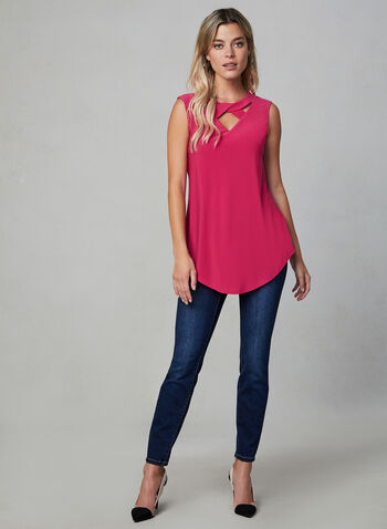 Sleeveless Twist Detail Top, Red, hi-res,  soft, stretchy, jersey, scoop neck, cutout, fall 2019, winter 2019