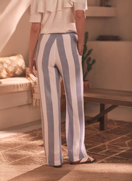 Striped Pull-On Pants, White
