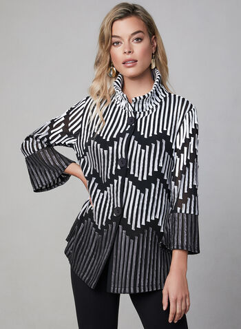 Frank Lyman - Mesh & Satin Jacket, Black,  fall 2019, winter 2019, satin, mesh, 3/4 bell sleeves, button down