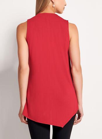 Sleeveless Asymmetric V-Neck Blouse, Red, hi-res