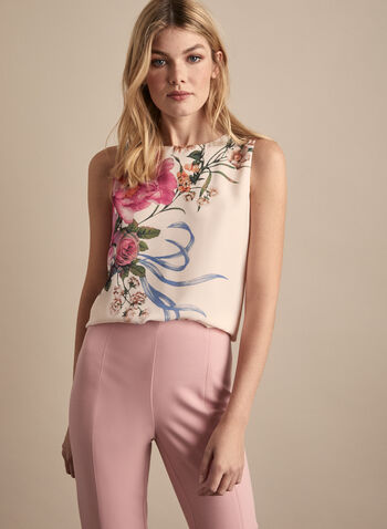 Sleeveless Floral Blouse, White,  blouse, scoop neck, sleeveless, floral, keyhole, crepe, spring summer 2020