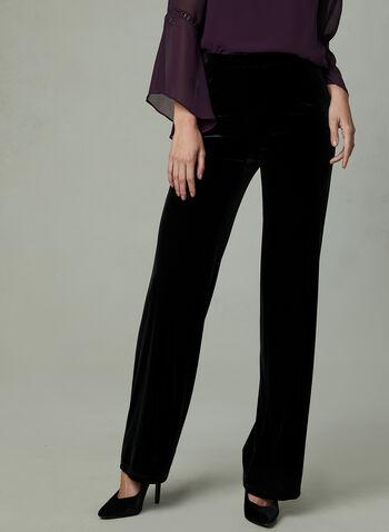 Pantalon à jambe large en velours , Noir,