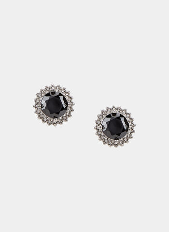 Faceted Crystal Stud Earrings, Grey, hi-res