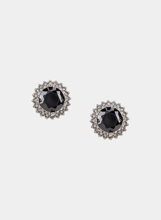 Faceted Crystal Stud Earrings, Grey, hi-res