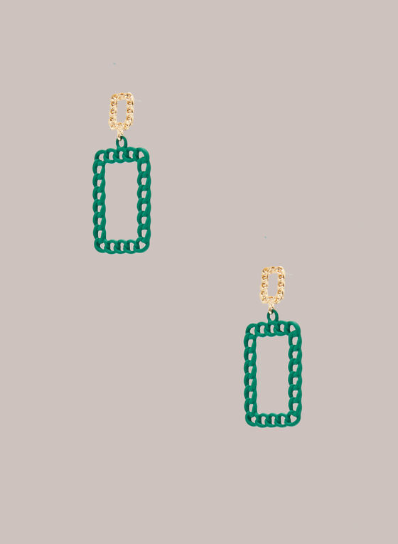 Boucles d'oreilles rectangulaires à maillons, Vert