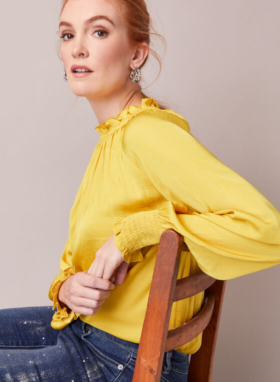 Keyhole Detail Smocked Blouse, Yellow