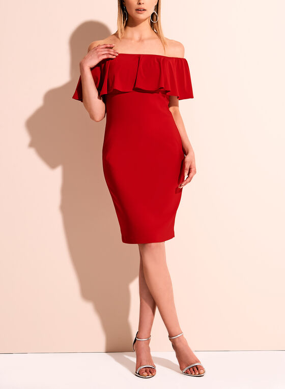 f1d3e471f634 ... Frank Lyman Off The Shoulder Jersey Dress, Red, hi-res ...