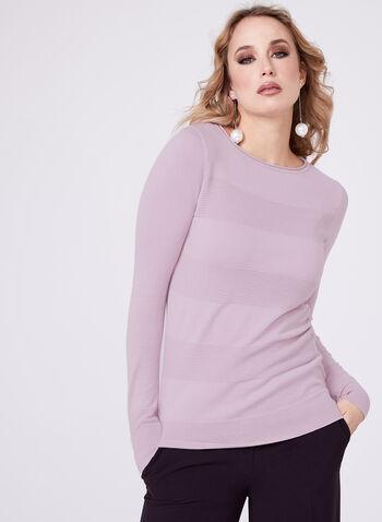 Pull en tricot ottoman côtelé effet rayé, Violet, hi-res