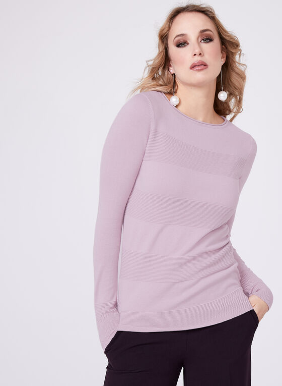 Stripe Ottoman Knit Sweater, Purple, hi-res