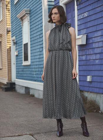 Geometric Print Chiffon Dress, Green,  fall winter 2020, dress, chiffon, evening dress, occasion dress, high neck, sleeveless, comfort, flowy, chiffon, muslin, shadow stripe, holiday, celebration