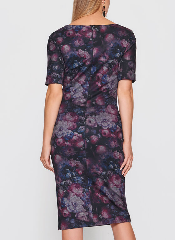 Floral Print Sheath Dress, Red, hi-res