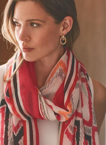 Foulard à motif géométrique abstrait , Rose,  printemps été 2021, accessoires, foulard, motif géométrique, pompon