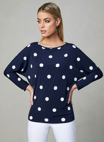 Polka Dot Print Jersey Top, Blue, hi-res