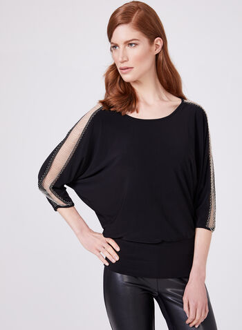 Frank Lyman - ¾ Sleeve Jersey Top, Black, hi-res
