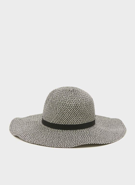 Chapeau capeline effet tressé bi-ton, Noir, hi-res