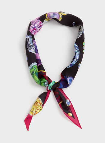 Lightweight Jewel Print Scarf, Multi, hi-res