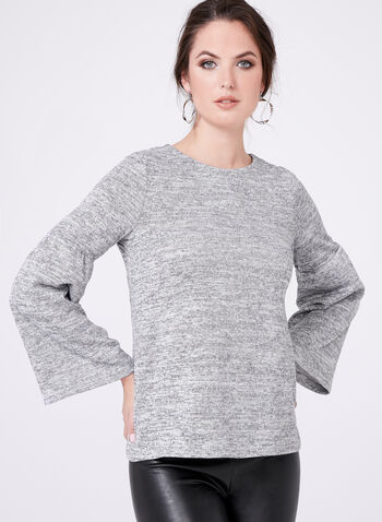 Bell Sleeve Knit Sweater, Grey, hi-res
