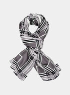Abstract Print Silk Scarf, Grey, hi-res