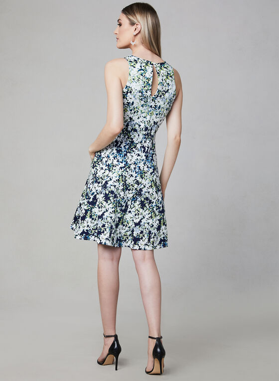 Maggy London - Floral Print Fit & Flare Dress, Blue, hi-res