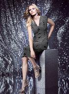 Nicole Miller - Robe en dentelle pailletée et motif losange, Argent, hi-res