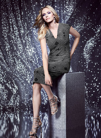 Nicole Miller - Metallic Geometric Print Dress, Silver, hi-res