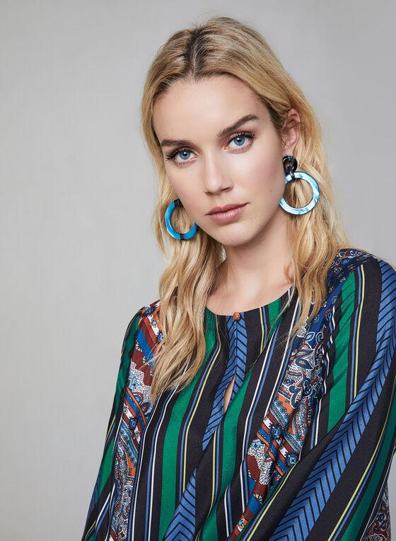 Blouse multicolore à motifs variés, Bleu, hi-res