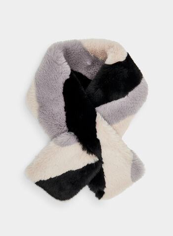 Faux Fur Scarf, Grey,  faux fur, colour block, fall 2019, winter 2019