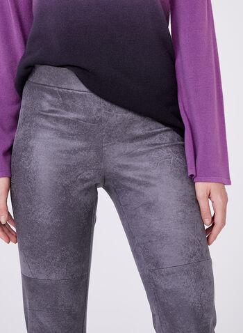 Pantalon pull-on à jambe étroite en faux cuir craquelé, Argent, hi-res